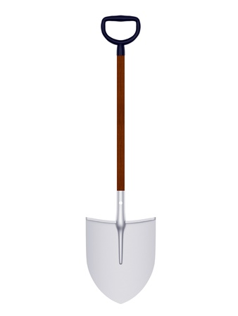 disposed: Shovel disposed by vertical and isolated on white background
