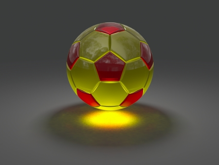 the caustic: Soccer ball from glass rendered on gray background with caustic effect