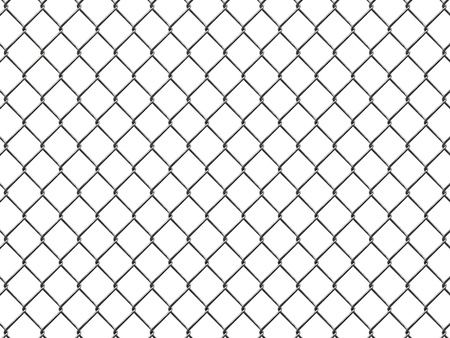 Fence from silver mesh isolated on white background photo