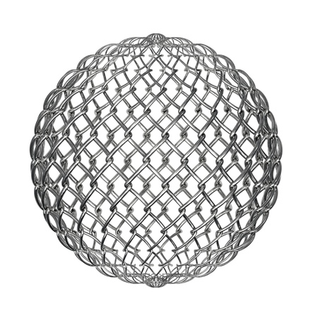 composed: Ball composed from metallic mesh and isolated on white background