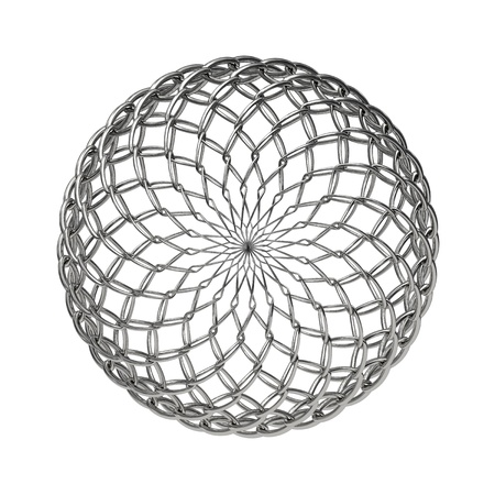 composed: Ball composed from metallic mesh and isolated on white background top view