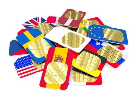 sim: White SIM card among SIM cards in the form of flags of different countries