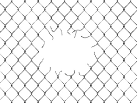 Hole in fence from silver mesh isolated on white background photo