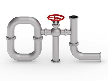 composed: Oil word composed from pipes rendered with soft shadows on white background