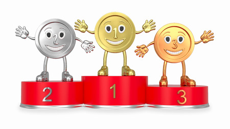 Cartoon medals on round red podium rendered with soft shadows on white background (front view) photo
