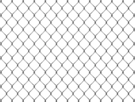 chainlink: Fence from silver mesh isolated on white background