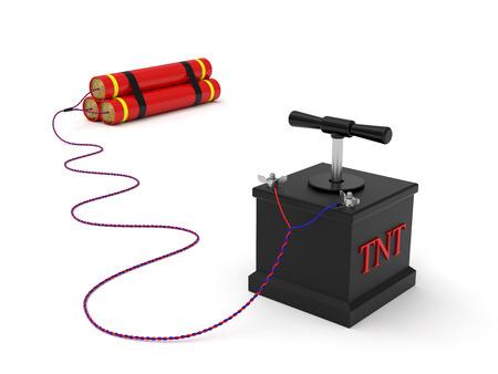 detonating: Dynamite with detonating fuse rendered with soft shadows on white background Stock Photo