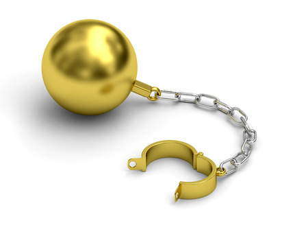 shackle: Golden prison shackle with chain rendered with soft shadows on white background