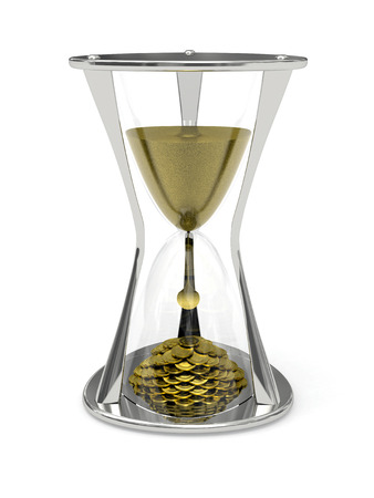 sand timer: Metallic Hourglass with the sand at the top and gold coins at the bottom