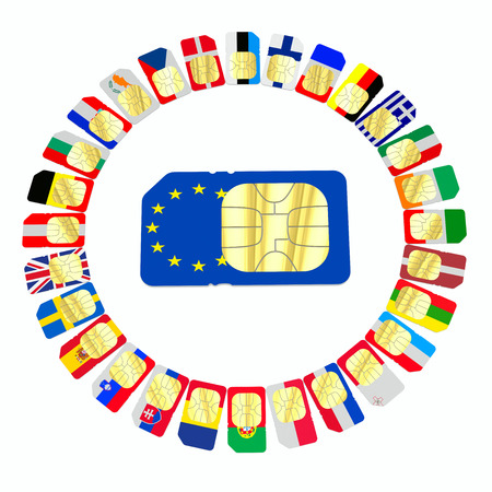 represented: SIM cards represented as flags of European Union countries arranged in a circle and isolated on white background
