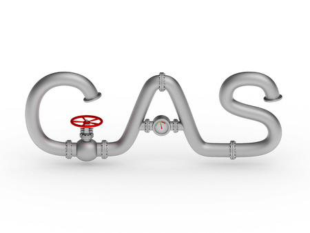 composed: Gas word composed from pipes rendered with soft shadows on white background