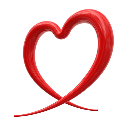 white heart: Abstract red heart isolated on white background Stock Photo