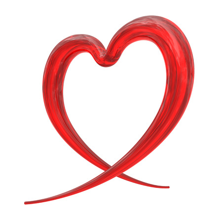white heart: Abstract red heart from glass isolated on white background