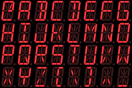 alphanumeric: Digital font from capital letters on red alphanumeric LED display isolated on black background