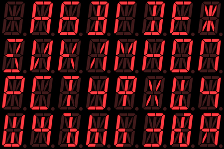 led display: Digital Cyrillic font from small letters on red alphanumeric LED display isolated on black background Stock Photo