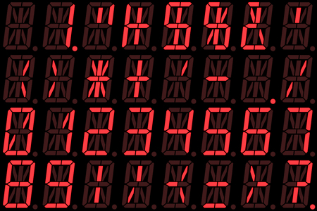 Digital numbers on red alphanumeric LED display isolated on black background