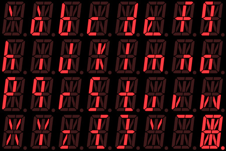 alphanumeric: Digital font from small letters on red alphanumeric LED display isolated on black background