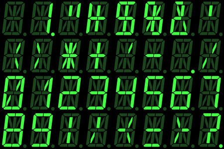 Digital numbers on green alphanumeric LED display isolated on black background