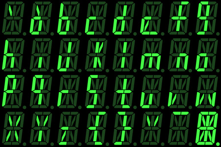 Digital font from small letters on green alphanumeric LED display isolated on black background Stock Photo