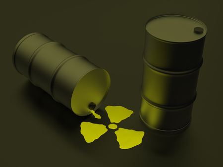 radioactivity: Radioactivity sign realized in the form of nuclear liquid Stock Photo