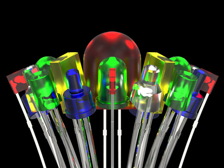 led lighting: Composition from light emitting diodes isolated on black background
