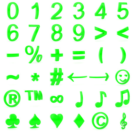 Green curved 3D numbers and symbols rendered with soft shadows on white background