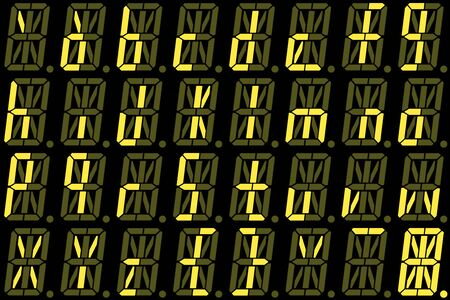 Digital font from small letters on yellow alphanumeric LED display isolated on black background