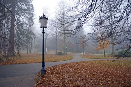 lanterns in an autumn park under the rain Stock Photo
