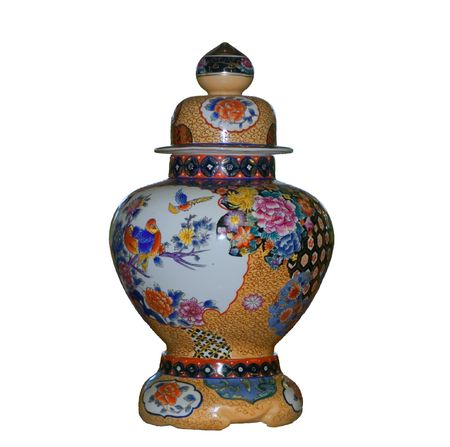 Chinese vase on a white background with clipping path