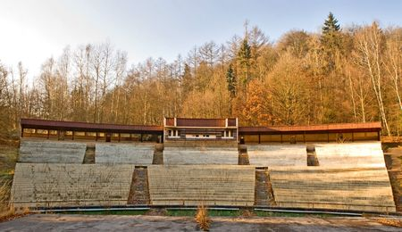feature films: Wooden theatre in Autumn outdoor.  Kind from viewing benches Stock Photo