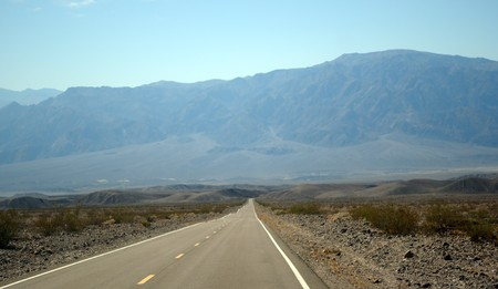 Desert road in Death Valley, National Park, California, USA Stock Photo