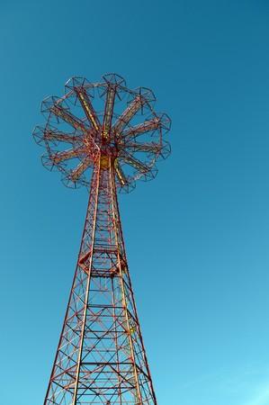 Forgotten Parachute tower near the amusement park on Brighton