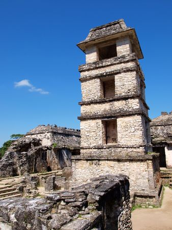 captives: The tower in the Patio of the Captives at the ancient Mayan city of Palenque, Chiapas, Mexico.