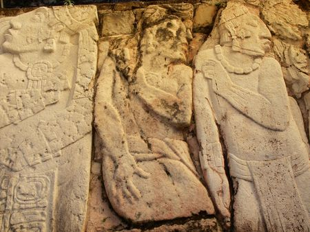 Depiction of possible prisoners of war carved out of limestone at the ancient Mayan city of Palenque, Chiapas, Mexico.