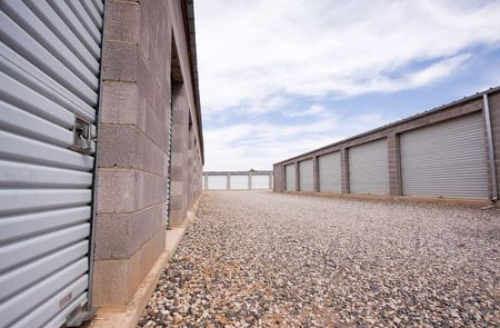 storage units:  Wide angle view of storage units in concrete buildings. Stock Photo