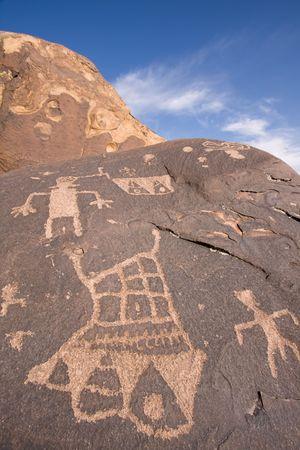 anasazi: Petroglifi scolpito sulla superficie della roccia da Native American(s) preistorici a Anasazi Canyon, Utah, USA