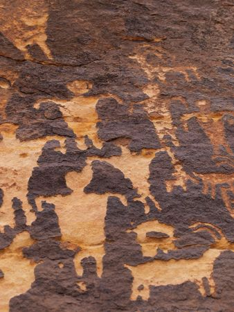 storytelling: Close up of petroglyphs carved onto rock surface by prehistoric Native American(s) in southern Utah desert, USA. Stock Photo