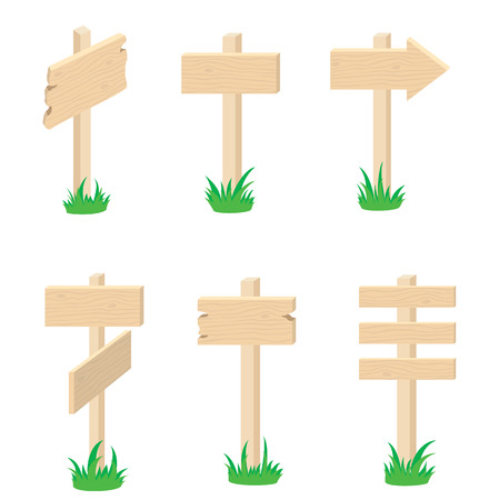 guidepost: Different versions of the wood signes, illustration