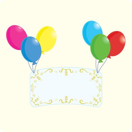 exultation: Art postcard and balloons, illustration