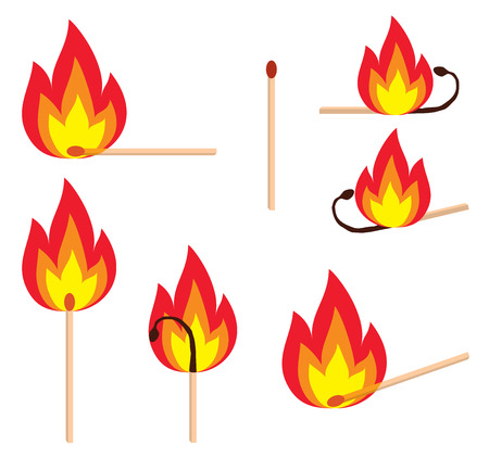 peril: Different versions of a burning matches, illustration