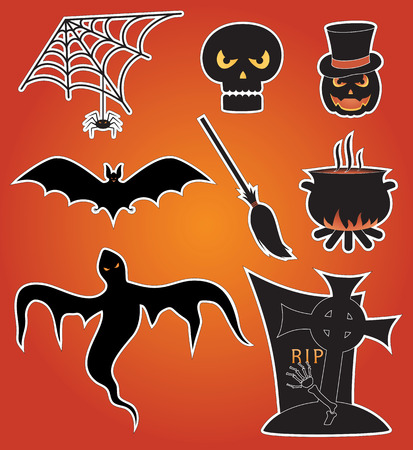 Eight icons for Halloween, illustration Stock Vector - 5623984