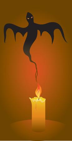 Halloween background, candle and ghost, illustration Векторная Иллюстрация