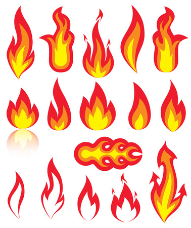 Different versions of a fire, illustration Stock Vector - 5639806