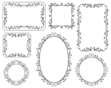 Ornamental black frames on white background, Illustration Vector