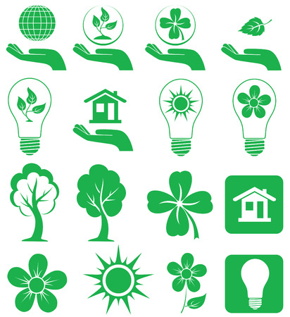 Different forms of green icons, illustration Stock Vector - 5639803