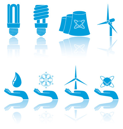 converter: Different forms of blue icons, illustration