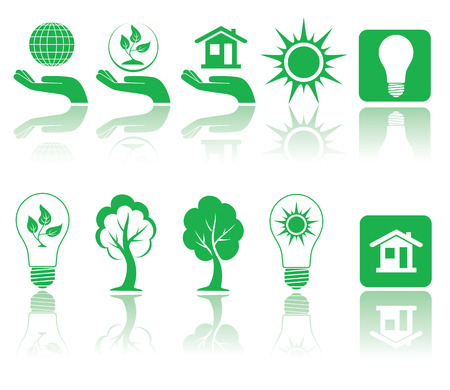conception: Different forms of green icons, illustration Illustration