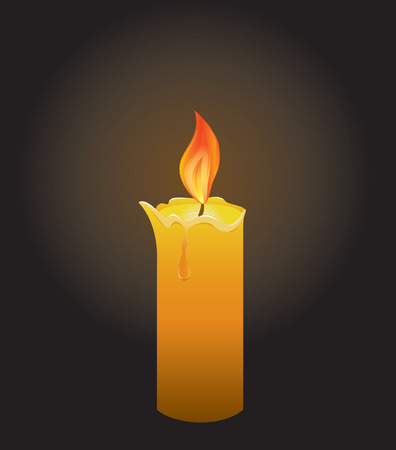 inflame: Burning candle on a black background, illustration