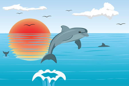 The dolphin has jumped out of the sea, illustration Vector