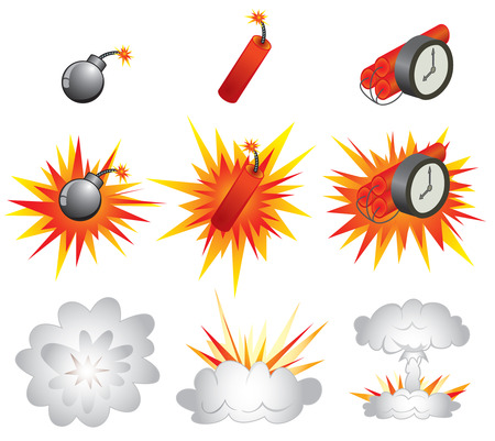 Explosive icons and the detonations Stock Vector - 6722318